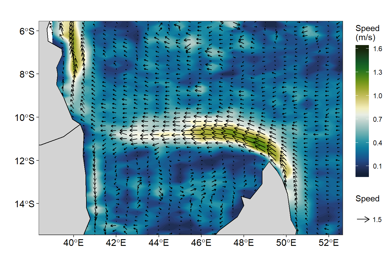 Plotting streamlines of surface current with ggplot2 and metR